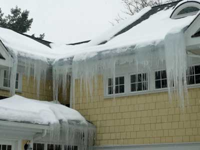 Ice Dam on Roof and Gutter