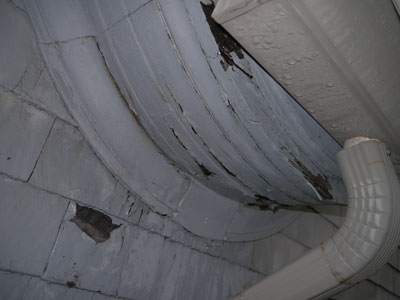 Roof valley leaks and covered roof drain