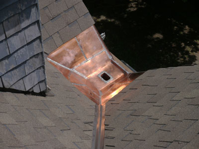 Valleys with new copper flashing